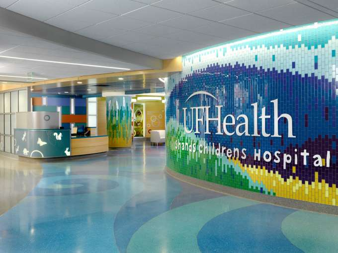 Inside the entry way of the UF Health Shands Children's Hospital
